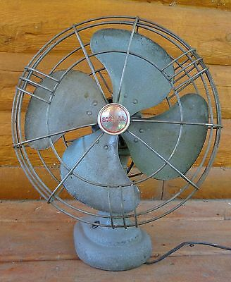"Vtg Electric Heavy Metal Signal Oscillating Fan 12"" Metal Blades Needs Rewiring"