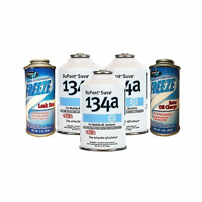 3 Cans DuPont / Chemours R-134a, Oil Charge & Stop Leak AC Refrigerant Package