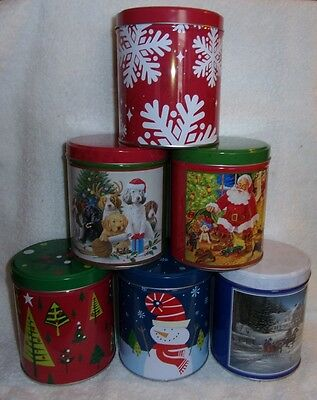 Lot of 6 Holiday Christmas decorative candy cookie nuts treat 1 quart gift Tins