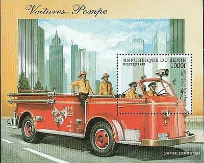 Benin block38 unmounted mint / never hinged 1998 Old Fire truck
