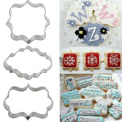 3PC Stainless Steel Fancy Plaque Frame Cookie Cutter Fondant Cake Mold Mould Set