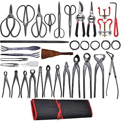 35 PCS Bonsai Tool Carbon Steel Shear Set Kit Scissor Pliers Cutter Saw w/Case
