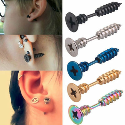 1pair Unisex Mens Womens Punk Stainless Steel Cool Whole Screw Ear stud Earrings