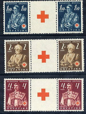CROATIA 1941 Red Cross set in pairs with labels  MNH / **.