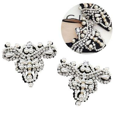 Bridal Design of Pearl Rhinestone Applique For Wedding Dress Shoe Clips