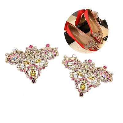 Pair of Sewing On Rhinestone Applique Wedding Dress Shoe Clips Crafts