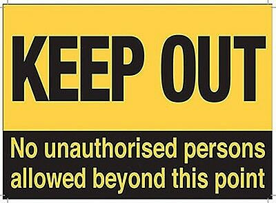 Keep Out No Unauthorised Persons... large steel sign 400mm x 300mm  (og)