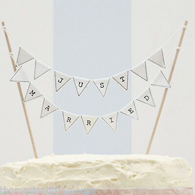 JUST MARRIED cake bunting - vintage rustic white cheese / wedding cake topper