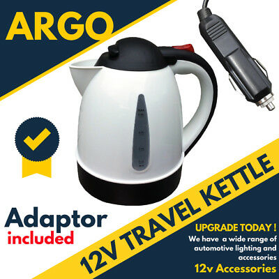 PLUG IN 12v CAR WHITE KETTLE WATER HEATER BOILER TEA COFFEE MAKER LORRY