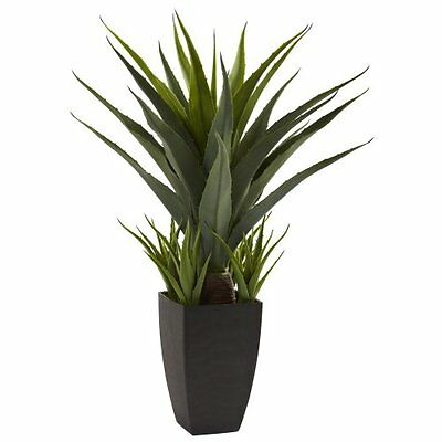 Nearly Natural 4856 Agave Plant with Black Planter- Green