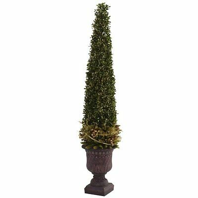 Nearly Natural 5368 Mixed Golden Boxwood and Holly Topiary with Urn- Green