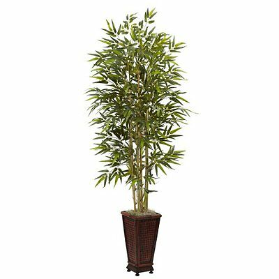 Nearly Natural 5922 6-Feet Bamboo Tree with Decorative Planter- Green