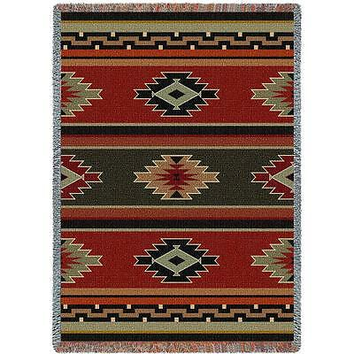 70x54 SOUTHWEST Red Green Geometric Tapestry Afghan Throw Blanket