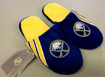 Pair of Buffalo Sabres Logo Slippers NEW NHL Team Stripe House shoes!