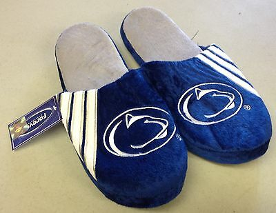 Pair of Penn State Lions Logo Slippers NEW NCAA Team Stripe House shoes! PSU