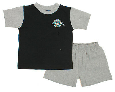 MLB Infant Florida Marlins Retro Shirt and Shorts Set, Black-Grey