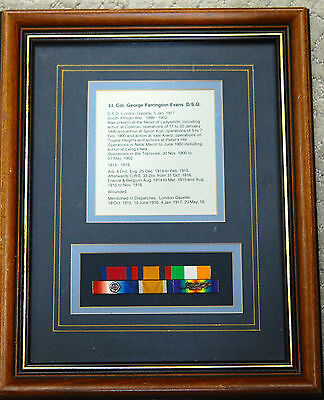 Contemporary Framed medal undress ribbon bars - Lt.Col. George F. Evans, DSO, RE
