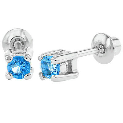 Rhodium Plated December Blue Kids Baby Girls Safety Screw Back Earrings 3mm
