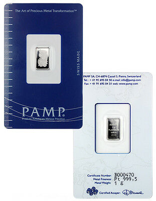 PAMP Suisse 1 gram Platinum Bar (Sealed with Assay Certificate) SKU29093