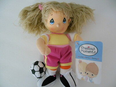 """PRECIOUS MOMENTS SOCCER DOLL, NEW with Tag, 8"""" Tall"""