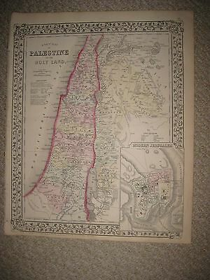 Gorgeous Antique 1871 Palestine Israel Holy Land Jerusalem Mitchell Handcolr Map