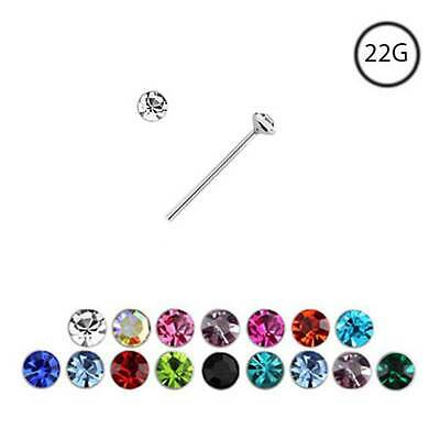 925 Sterling Silver Straight L Bend Nose Stud Ring Tiny Micro Small 1mm CZ 22G