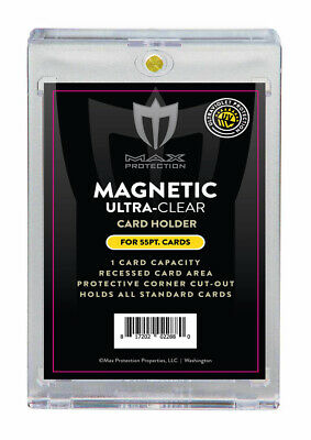 25 Max Pro Ultra Clear Premium Magnetic UV 55pt Black Label Touch Card Holders