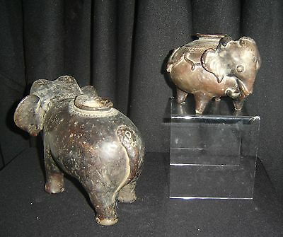 Antique Cambodia Khmer Dark Ages Pair of Terracotta Elephants Incense Burners.