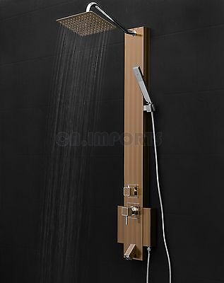 "50"" Panel Spa Rainfall Style Wand Stainless Steel Wall Mount Shower Tower"