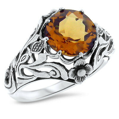 Art Nouveau Antique Style Lab Citrine 925 Sterling Silver Ring Size 9,      #890