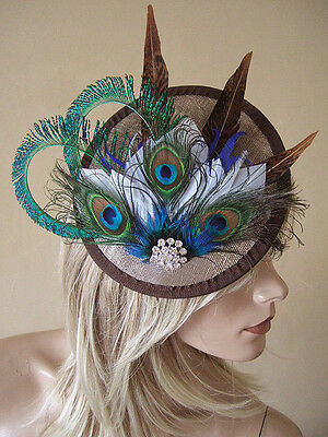 Gold Peacock Browns White Feather Crystal Saucer Fascinator Hat Hatinator MN171