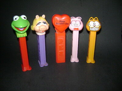 Pez Figures Lot Of 5 Lovers Lane Miss Piggy Kermit Garfield And His Pink Friend