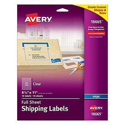 """Avery Clear Full-Sheet Shipping Labels for Inkjet Printers 8-1/2"""" x 11"""", Pack"""