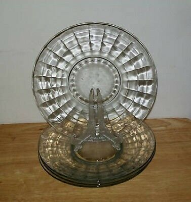 4 Anchor Hocking Clear Glass BLOCK OPTIC Salad Plate/s (loc-31E)
