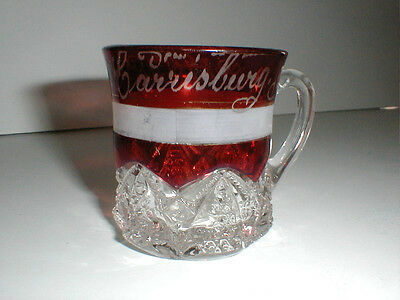 EAPG Ruby Stained BUTTON ARCHES Harrisburg PA Mug/Cup