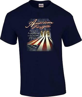 TALL Proud to Be An American Firefighter US Flag Fireman Saving Lives T-Shirt