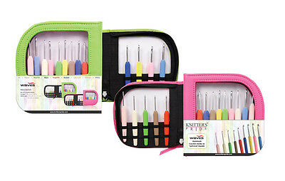 Knitter's Pride Waves Aluminum Single Ended Crochet Hook Gift Set Pink or Green