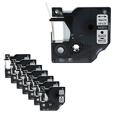10PK Black on White Label Tape 6mm*7m For Dymo D1 43613 LabelManager 200 350 400