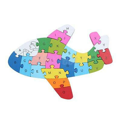 Kids Baby Wooden Airplane Puzzle ABC Alphabet Jigsaw Learning Education Toy