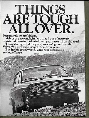 1970 Vintage Volvo Print Ad - Things Are Tough All Over