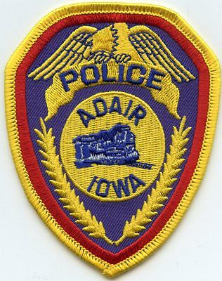 ADAIR IOWA IA train POLICE PATCH