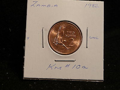 ZAMBIA:   1982      2 NGWEE    COIN     (UNC.)    (#2985)  KM # 10a