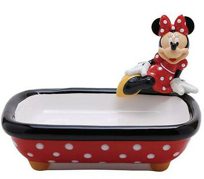 DISNEY MINNIE MOUSE Figurine SOAP DISH HOLDER CASE TRAY Statue Figure RED DOTS