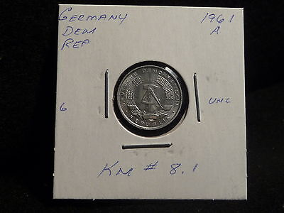 Germany  Democratic Rep. :  1961 A   1 Pfennig  Coin   (Unc.)  (#325)  Km # 8 .1
