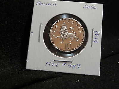 Great Britain: 2000  10 Pence  Coin  Proof Hc Gem (Unc.)  (#1664) Km # 989
