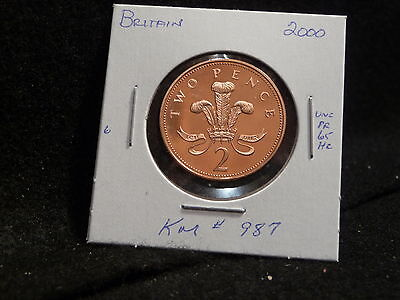 Great Britain: 2000  2 Pence  Coin  Proof Hc Gem (Unc.)  (#1663) Km # 987