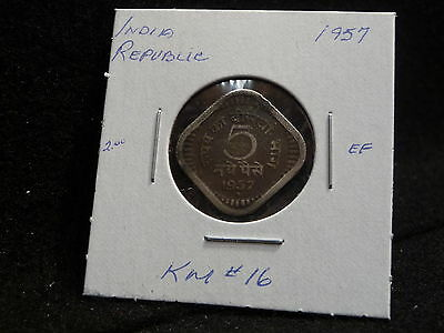India Republic : 1957    5 Naye  Paise   Coin   (Ef.)   (#890)  Km # 16