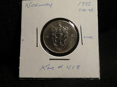 Norway:  1982     50 Ore  Coin     ( Unc  )  (#2765)  Km # 418