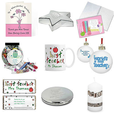 Personalised Teacher Gifts Presents School Leaving Class Xmas Christmas Ideas