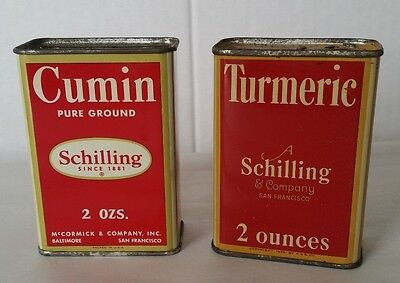 2 Vintage Schilling Spice Tins Cumin and Turmeric